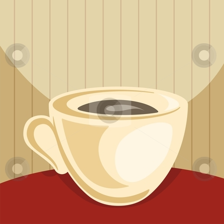 Coffee cup stock vector clipart, Cup of coffee on dark red table and beige background by fractal.gr