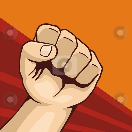 Fist 01 stock vector clipart, Illustration of fist line-art on dark red and orange background by fractal.gr