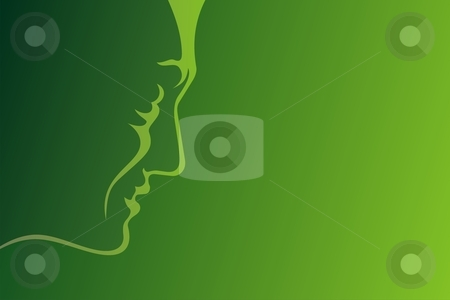 Man profile green stock vector clipart, Lineart profile of mature man on green background by fractal.gr