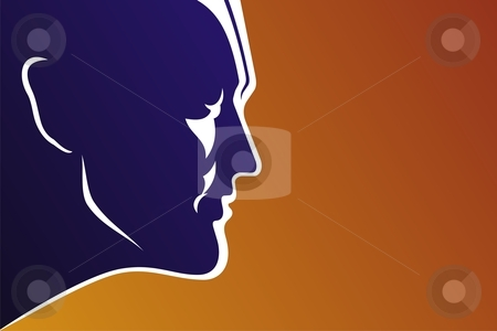 Super Hero stock vector clipart, Profile of a young man on red background by fractal.gr