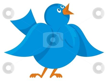 Blue bird communication stock vector clipart, Cartoon illustration of funny cheerful blue bird communicating by fractal.gr