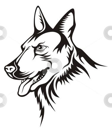 German shepherd stock vector clipart, Tattoo illustration of german shepherd guard dog by fractal.gr