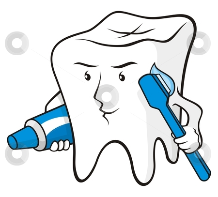 Tooth protected stock vector clipart, Tooth cartoon smiling with toothbrush and toothpaste by fractal.gr