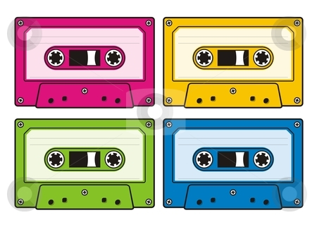 Audio cassettes stock vector clipart, Audio cassette icon in four coloured versions by fractal.gr