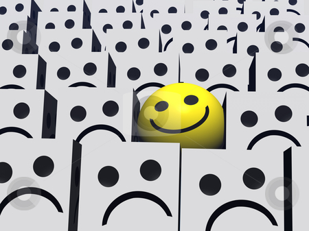 Be Different stock photo, A happy round smilie with a lot of miserable square smilies. by Norma Cornes