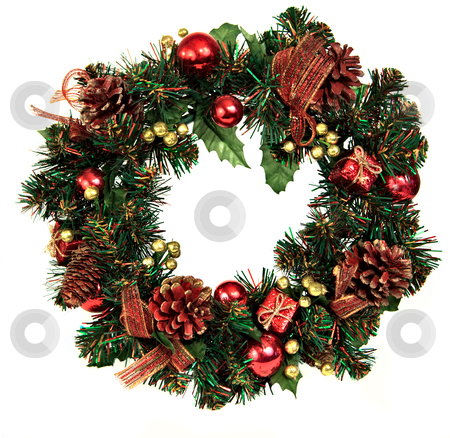 Wreath royalty free christmas images stock photo, A decorated Christmas wreath with pinecones and ornaments by Norma Cornes