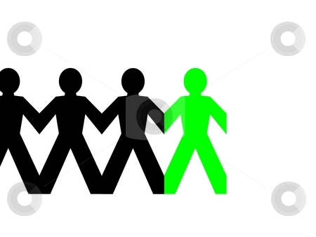 Group Man Green stock photo, Group of man standing in line on white background by Henrik Lehnerer