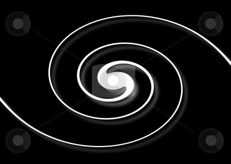 Spiral Black stock photo, White spiral with shadow on a black background by Henrik Lehnerer