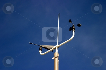 Weather Station stock photo, Weather Station instruments with a blue sky in the background by Henrik Lehnerer
