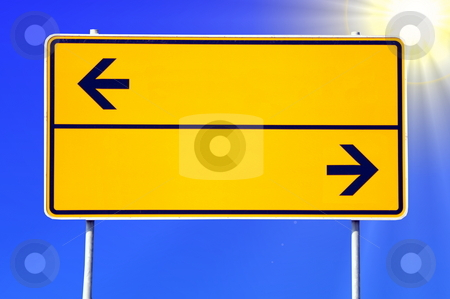 Blank sign stock photo, Blank sign with arrows and copyspace for text message by Gunnar Pippel