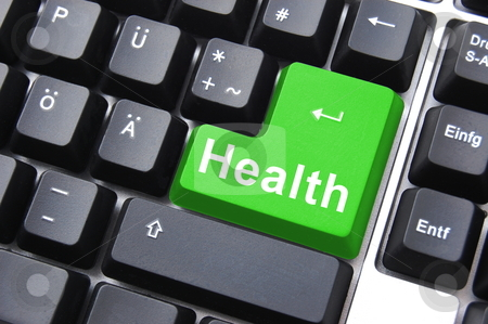 Health button stock photo, Colorful health button on a computer keyboard by Gunnar Pippel