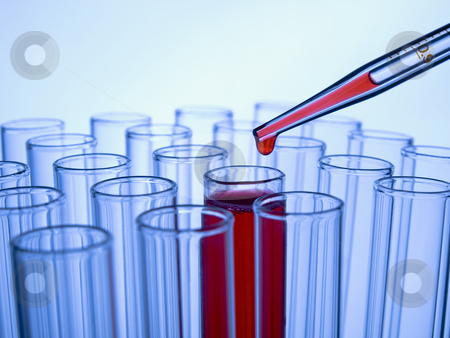 Test tubes and pipette stock photo, Close up of test tubes and pipette with a red liquid. by Ignacio Gonzalez Prado