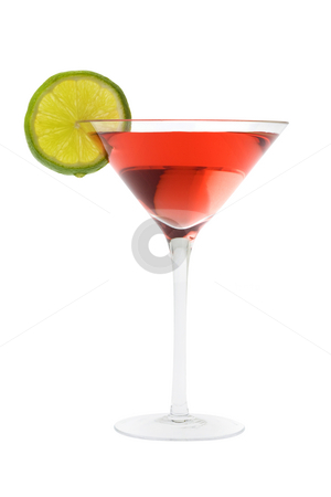 Cosmopolitan cocktail with lime stock photo, Cosmopolitan mixed drink with lime slice on a white background by Gabe Palmer