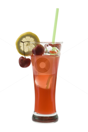 Zombie Cocktail on a white background stock photo, Zombie mixed drink with cherry and lemon garnish on white background by Gabe Palmer