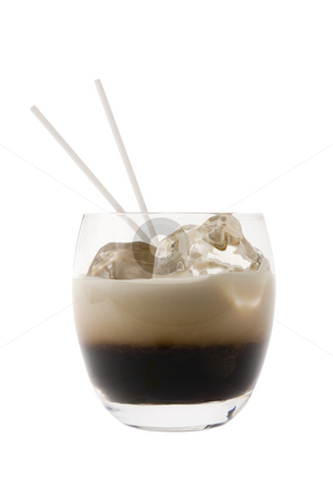 White Russian Cocktail stock photo, White Russian mixed drink on white bakground by Gabe Palmer