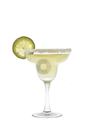 Margarita cocktail on a white background stock photo, Margarita mixed drink with salted rim and lime slice garnish on a white background by Gabe Palmer