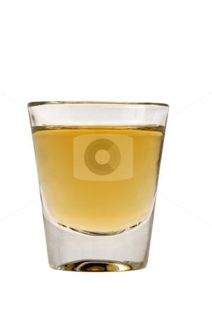 Shot of Whiskey stock photo, Whiskey neat in shot glass on white background by Gabe Palmer
