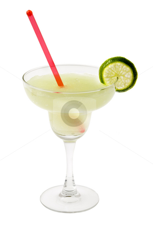Margarita Cocktail stock photo, Margarita mixed drink with lime slice garnish on white backgound by Gabe Palmer