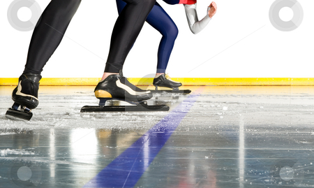 Speed skating start stock photo, Two female speed skaters taking starting positions on the ice behind the starting line by Corepics VOF