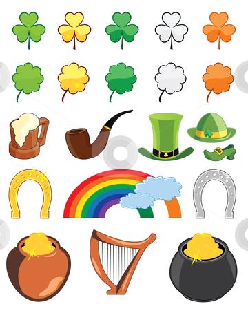 St. Patricks day icon set stock vector clipart, Collection of St. Patricks day icons - vector illustrations by Nikola Stulic