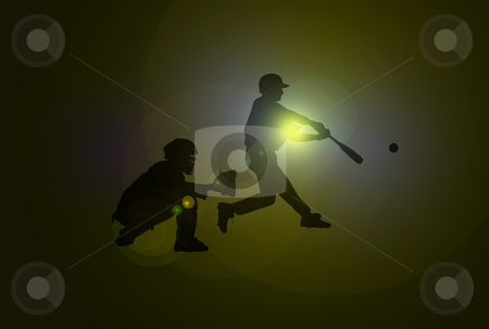 Baseball Players stock photo, Baseball players with silhouettes over dark background with lens flare by Superdumb
