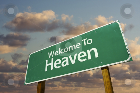 Welcome To Heaven Green Road Sign stock photo, Welcome To Heaven Green Road Sign with dramatic clouds and sky. by Andy Dean