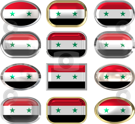 Twelve buttons of the Flag of Syria stock photo, Twelve buttons of the Flag of Syria by Phil Morley