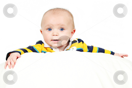 Closeup of Cute little baby boy stock photo, Cute little baby boy taken closeup on white by Melissa King