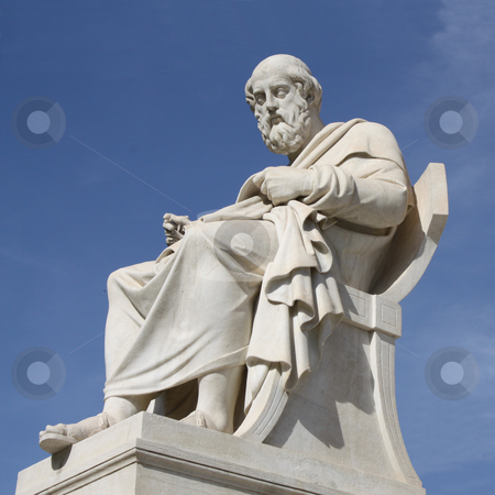 Statue of Plato in Athens, Greece stock photo, Neoclassical statue of ancient Greek philosopher, Plato, in front of the Academy of Athens in Greece. by Brigida Soriano