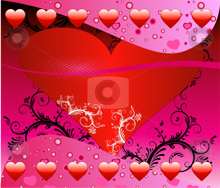 Valentine Heart Background stock vector clipart, Vector Valentine Background with hearts and scrolls. by Basheera Hassanali