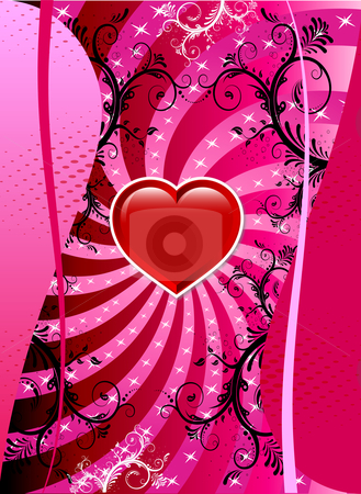 Valentine Heart Background stock vector clipart, Vector Valentine Background with hearts and scrolls. by Basheera Hassanali