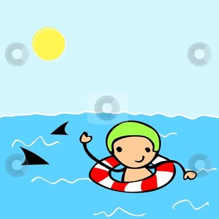 Cartoon kid swimming stock vector clipart, Cute cartoon kid swimming ...