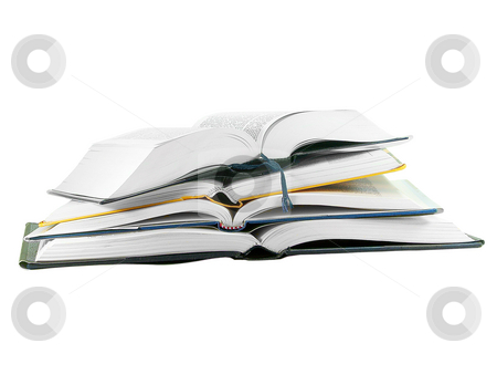 Pile of Open Books stock photo, Pile of open books isolated over white background by Superdumb