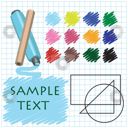 Designer set  stock vector clipart, Designer set card with place for sample text by Richard Laschon