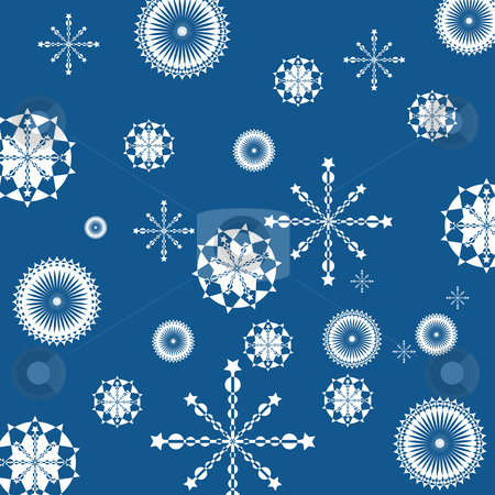 Abstract geometric snowflakes stock vector clipart, Abstract geometric snowflakes on clear blue background by Richard Laschon