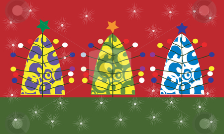 Christmas card stock vector clipart, Post modern christmas card, vector background by Richard Laschon