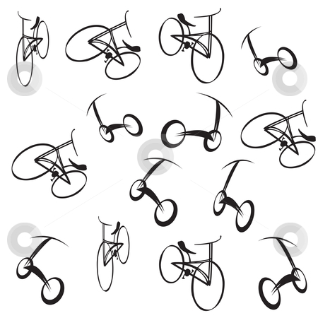 Bike pattern stock vector clipart, Bikes pattern illustration on white by Richard Laschon