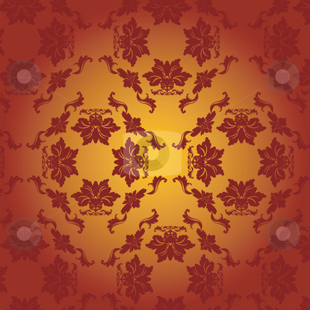 Damask stock vector clipart, Damask, red, bright by Richard Laschon