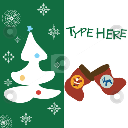 Christmas text card stock vector clipart, Christmas text card on green background wuith place for sample text by Richard Laschon