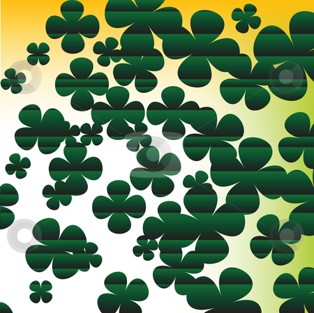 Clover background stock vector clipart, Four leaves clover background by Richard Laschon