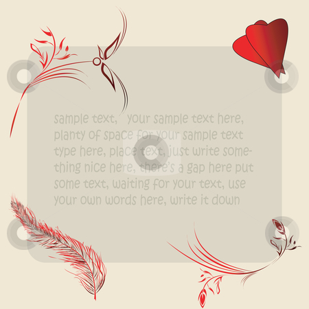 Sample text card stock vector clipart, floral abstraction for your design by Richard Laschon