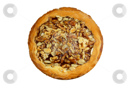 Almonds And Walnuts Pie stock photo, Almonds and walnuts pie isolated over white background by Superdumb