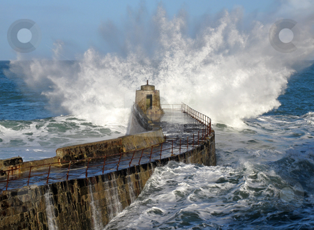 Big wave splash on Portreath pier, Cornwall UK. stock photo, Big wave splash on Portreath pier, Cornwall UK. by Stephen Rees