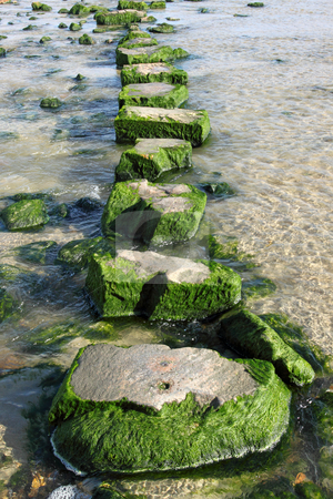 Large stepping stones across a stream. stock photo, Large stepping stones across a stream. by Stephen Rees