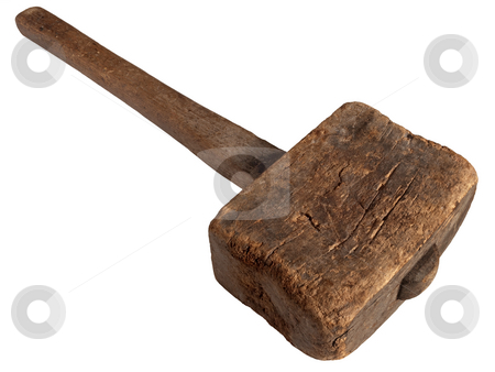Old wooden mallet hammer isolated on white. stock photo, Old wooden mallet hammer isolated on white. by Stephen Rees