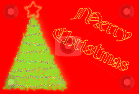 Merry Christmas Card stock photo, Christmas card with tree and writing over red background by Superdumb