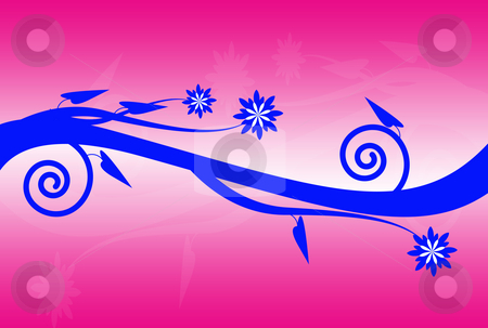 Floral Blue stock photo, Floral blue design over pink and white background by Superdumb