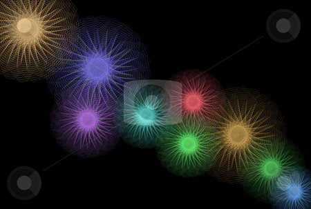 Abstract Light Geometries stock photo, Abstract geometric colored  lights over black background by Superdumb