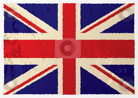 Grunge british flag stock vector clipart, Grunge british flag in red white and blue with old aged effect by Michael Travers