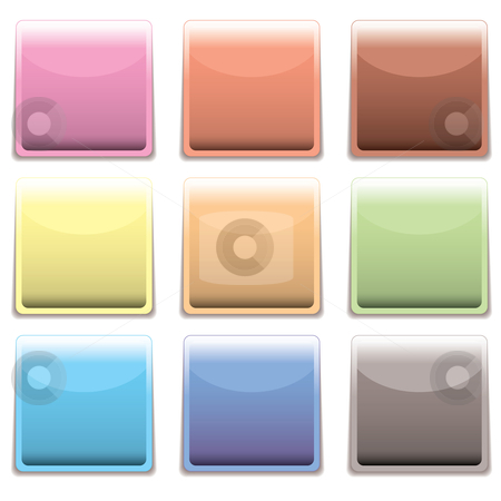 Subtle square plastic web icon stock vector clipart, Subtle rainbow collection of square web icons with shadow by Michael Travers